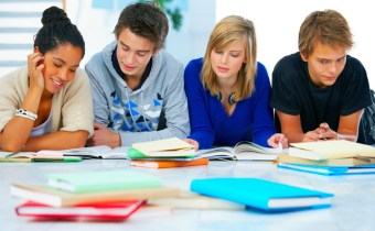 Young high school students in a modern and bright home environment