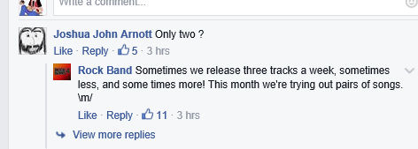 The official Rock Band Facebook page confirms only two songs each week this month.