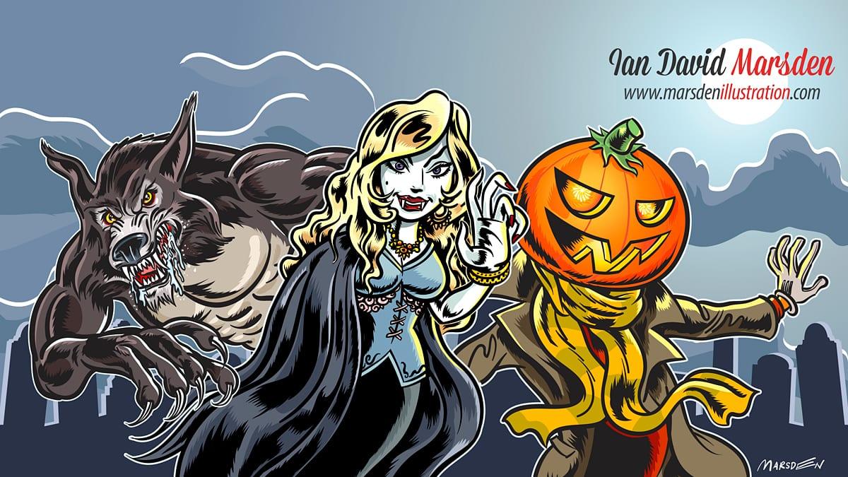 Halloween Monster Drawing Tutorial Videos Wacom Cintiq and Adobe Illustrator