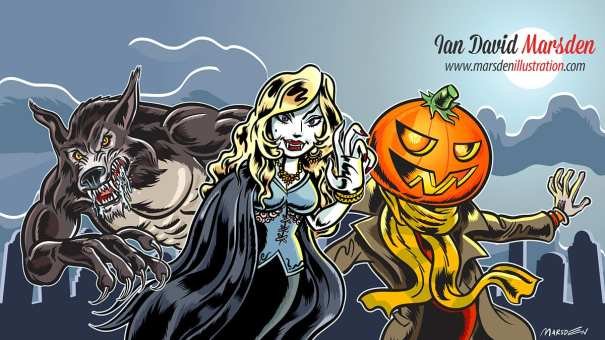Halloween JackOLantern witch vampire and werewolf illustration