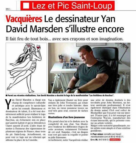 Article sur illustrateur Ian Marsden - Midi Libre 18/04/2015