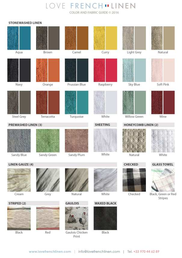 French Linen color and fabric chart