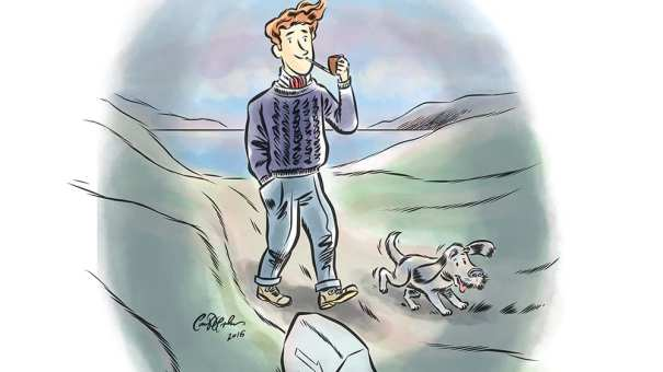 A man and his dog doing for an evening walk - cartoon illustration