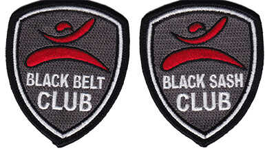 black belt club and black sash club patches