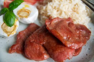Pork Tocino with Salted Eggs and Fried Rice