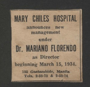 1934 MCH Announcement