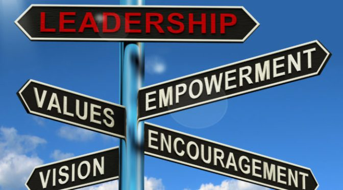 Leadership Signpost Shows Vision Values Empowerment and Encouragement