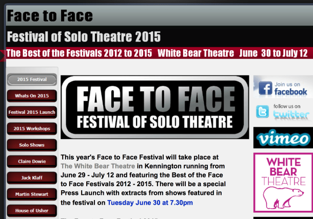 face to face festoval of solo theatre