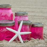 Pink Vintage-Look Mason Jars