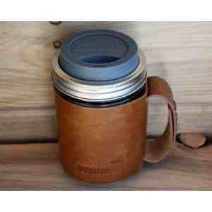 High Handle Travel Mug Faux Lear Sleeve Mason Jars Charcoal Silicone Drinking Lid Handle Onwide Mouth Pint Mason Faux Lear Sleeve