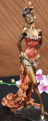 "alt=""Red Patina Spanish Flamenco Dancer Bronze Figurine"""