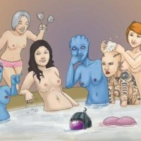 The female members of The Normandy get together for a bath, and maybe a little fun.