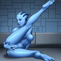 A sexy Asari spreads her legs and plays with her wet pussy.