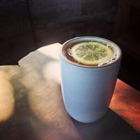 hot ginger lemon apple cide with bourbon