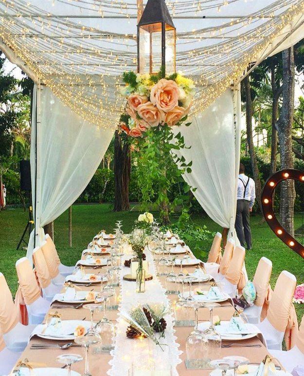 海島沙灘浪漫婚禮-巴里島肉桂VILLA-花園晚宴布置