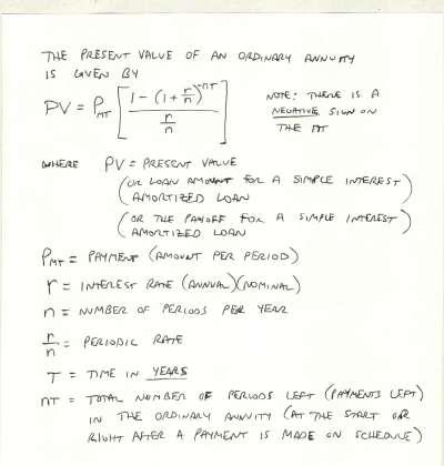 A) Alternative Formula for Amortized Loans Formula