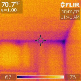 Figure M: Thermal Photograph of a Stud-Framed Wall in My Condo.