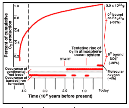 Figure 5: Cumulative History of O2 by Photosynthesis Through Geologic Time.