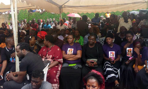 Some of the celebrities at the burial, including singer Bebe Cool.