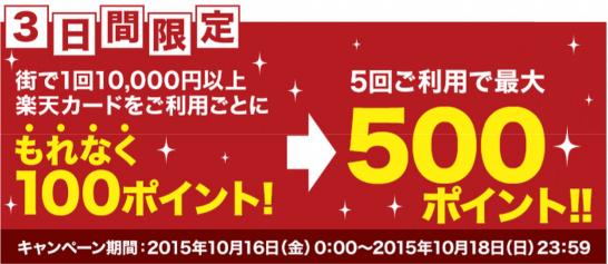楽天カードの街で1万円利用で100円キャンペーン