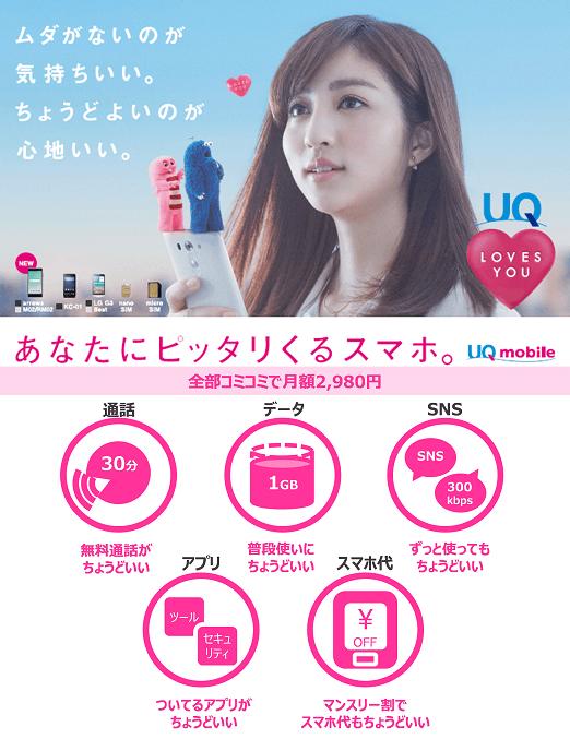 UQ mobileの「ぴったりプラン」