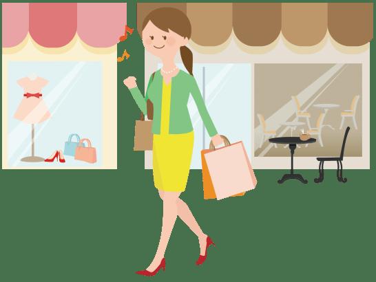 ショッピングを楽しむ女性のイラスト
