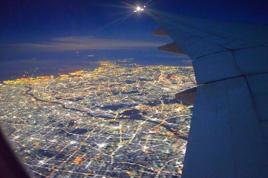 飛行機から見た東京の夜景