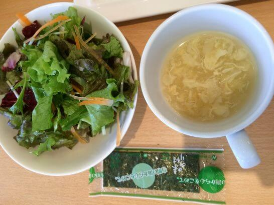 休暇村奥武蔵の朝食のサラダ・スープ・のり