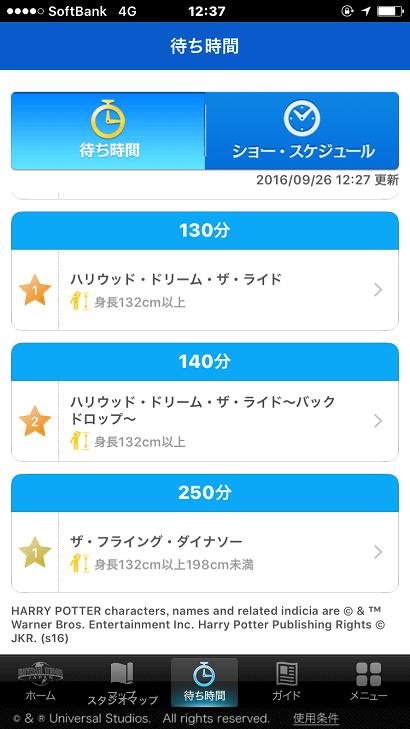 USJアプリに示される人気アトラクションの待ち時間