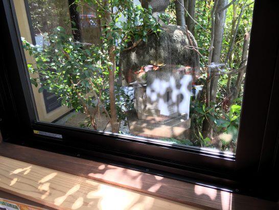 レストランの窓の木漏れ日