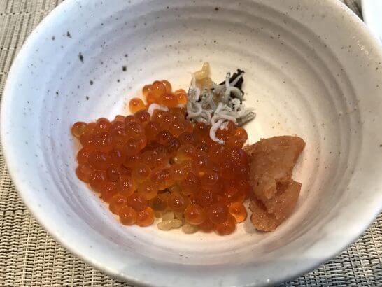 東京ステーションホテルの朝食のいくら・明太子・しらす