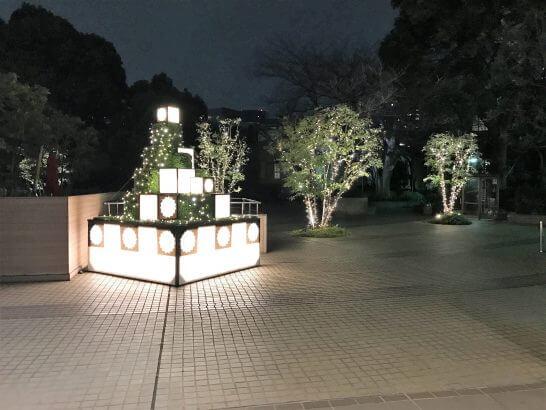 東京マリオットホテルの夜の玄関
