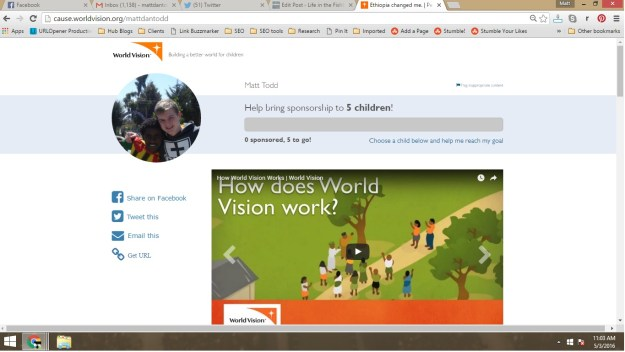 World Vision Sponsorship Page