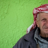 Green portrait of old man