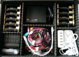 11 Raspberry Pi, (Pi 2x6, Pi B+x5), Cables, Switch, and Power. (Keyboard not shown)