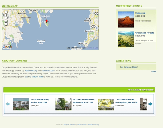 Drupal Real Estate Home Page Features