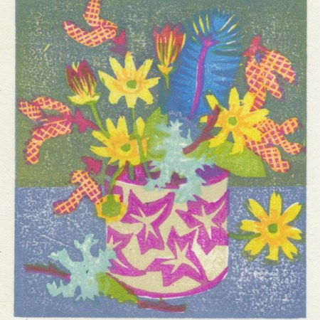 """Celandines and Lichen"" woodblock print by Matt Underwood"