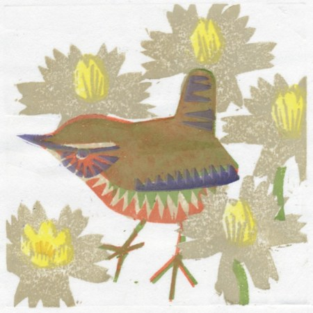 """Aconite Wren"" woodblock print by Matt Underwood"