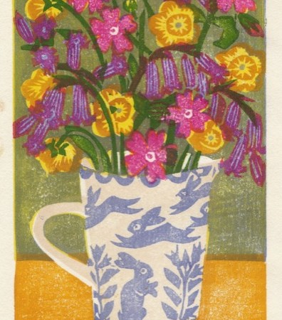 """Flowers in a Bell Pottery Jug"" woodblock print by Matt Underwood"
