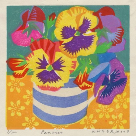 """Pansies"" Woodblock print by Matt Underwood"