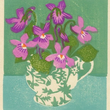 """Violet Teacup"" woodblock print by Matt Underwood"