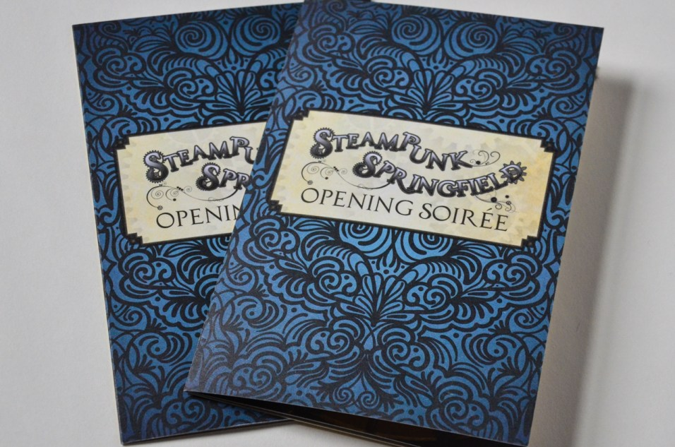 Steampunk Springfield opening reception invitations