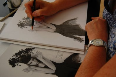 5 hours into the course, students begin to reproduce images from photographs with improved accuracy, contour and values.