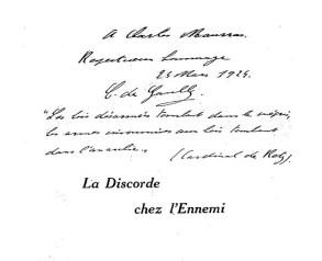Dédicace de Charles de Gaulle.