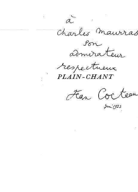 1923 - Dédicace de Jean Cocteau.