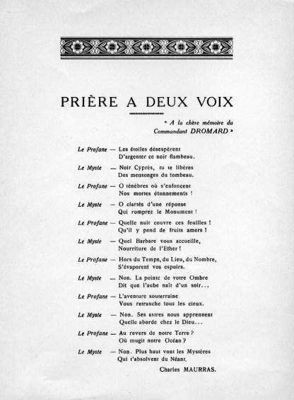 Prière à deux voix, par Charles Maurras, 1950.