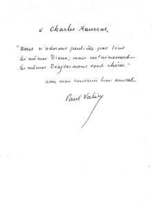 Paul Valéry à Charles Maurras