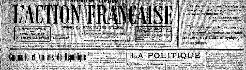 Une de l'AF du 11 sept. 1921 (détail)