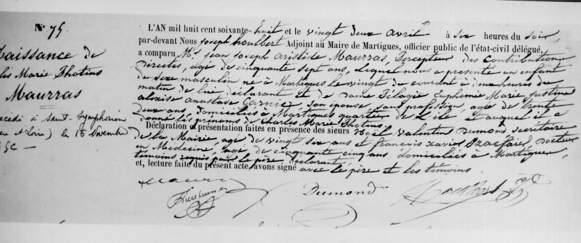 1868 - Acte de naissance de Charles Maurras
