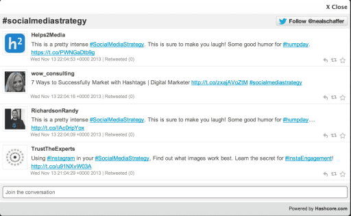 #socialmediastrategy hashcore screenshot
